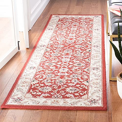 Safavieh Chelsea Collection HK78B Hand-Hooked French Country Wool Runner, 3' x 8' , Burgundy / Ivory