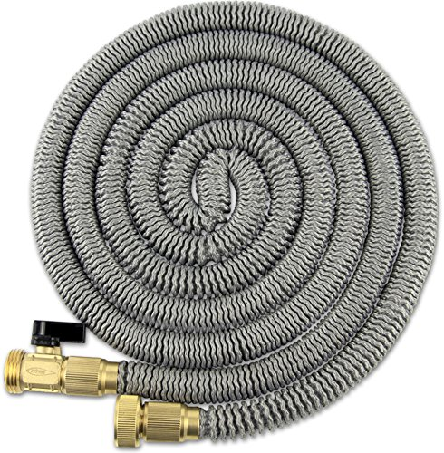 TITAN 50 Foot Expanding Garden Water Hose Premium Leak-Resistant Solid Brass Connectors Super Strong and Durable Double Layer Latex Core Design Expandable Flexible and Lightweight for Home Use