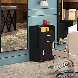 MTFY Black Salon Cabinet Wall Mount Stations Hair Styling Classic Locking Single Drawer Storage Beauty Hair Salon Spa Equipment Barber Stations (Style 2)