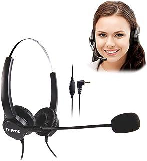 TRIPROC Binaural DC 2.5MM Telephone Headset for Landline PhonesCompatible for Jabra Cisco Polycom Panasonic (Binaural)