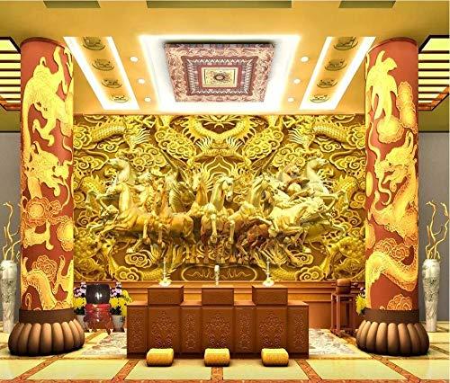 Qingany Wandscherm, fotobehang, personaliseerbaar, motief drakenpaard goud Dragon acht paard 3D TV muur 300 x 210 cm.