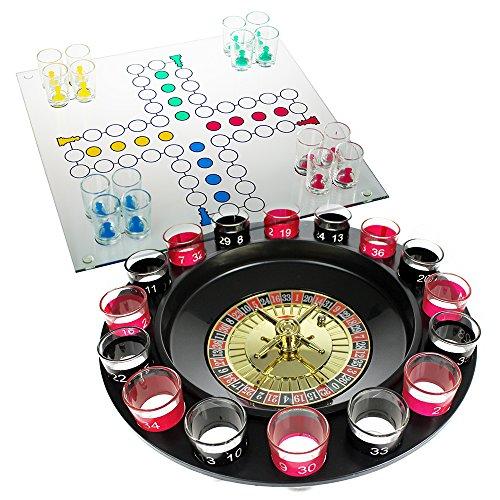 Monsterzeug 2er Geschenkset, Trinkspiel mit Schnapsgläsern Roulette & Saufspiel Nicht ärgern, Drinking Ludo mit 16 Gläsern, Schnaps Roulette, Spieleklassiker als Saufspiele, Party Spiele Erwachsene