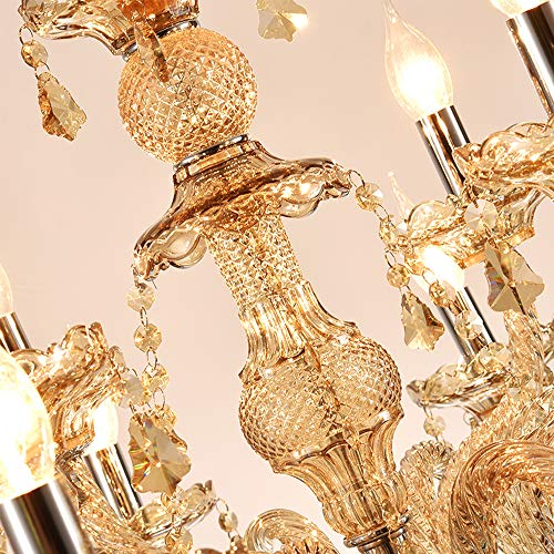 Samger Samger Luxuriöse 10 Arm Kronleuchter K9 Kristallglas Deckenleuchte Pendelleuchte Cognac Farbe für Wohnzimmer Schlafzimmer Flur Eintrag - 6