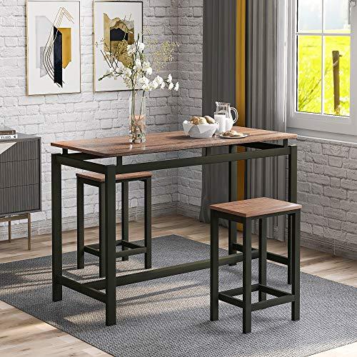 Joycelzen Set Tavolo da Bar, Tavolo da Cucina in MDF con 2 Sgabelli da Bar per Cucina, Sala da Pranzo e Soggiorno, Tavolo da Bistrot Salvaspazio, 100 x 40 x 90 cm, Marrone