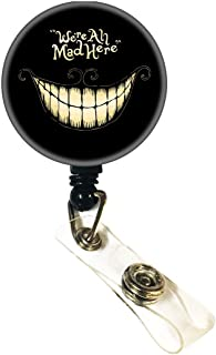 Tony Design We're All mad here-Smile face Retractable Badge Reel,Nurse ID Badge Holder with Alligator Clip,24 inch Nylon Cord,Decorative Name Badge Holder