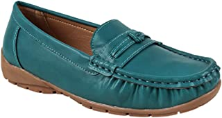 Chumbak Stitches & Braids Teal Moccasins for Women