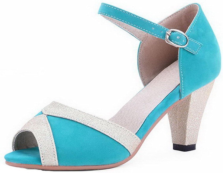 WeenFashion Women's Imitated Suede Assorted color Open Toe Sandals, CA18LA03482