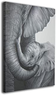 OANAklsd Black Elephant Mom with Baby Wall Art Painting Pictures Print On Canvas Home Decor Modern Decoration 16 X 20inch