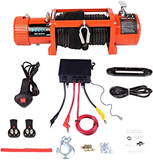 Winches,ECCPP 12V 13000 LBS IP67 Waterproof Electric Winch+Solenoid Box Assembly+Hand/Wireless Remote Control+Roller Fairlead+Negative Wire+Overload Protection Device+Cover Truck Trailer Synthetic 4WD
