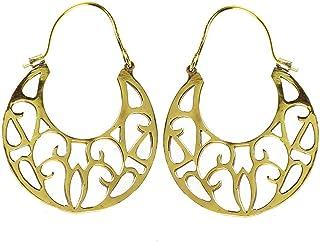 CHICNET - Orecchini lucidi con motivo a falce in ottone anticato dorato, senza nichel, gioiello tribale