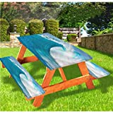 LEWIS FRANKLIN Cortina de ducha Ocean Deluxe Picnic Cubiertas de mesa, Clean Big Wave Windy Weather Mantel ajustable, 70 x 72 pulgadas, juego de 3 piezas para mesa plegable