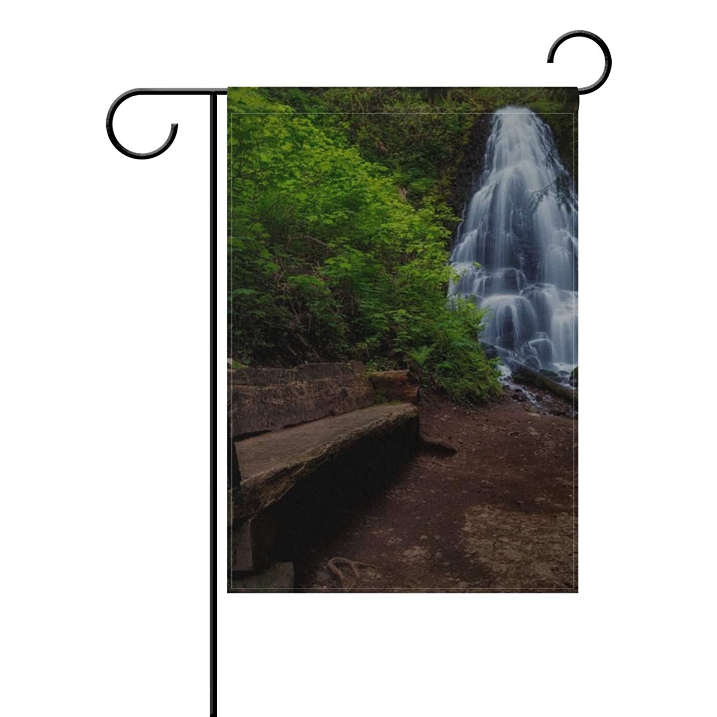 MAXM Garden Flag Waterfall Bench Water Trees 12x18 Inches(without Flagpole)