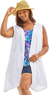 c2950fff69a34 Swimsuits For All Women s Plus Size Sleeveless Terry Coverup with Hood