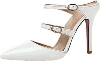 Sandals Thin High Heel Patent Leather Buckle Straps Pointed Toe Sandals Size 30-47