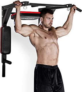 Merax Wall Mounted Pull-Up Bar - Multi-Grip Chin-Up Bar Dip Stand Power Tower Set for Home Gym Strength Training Equipment [Supports 440LBS]