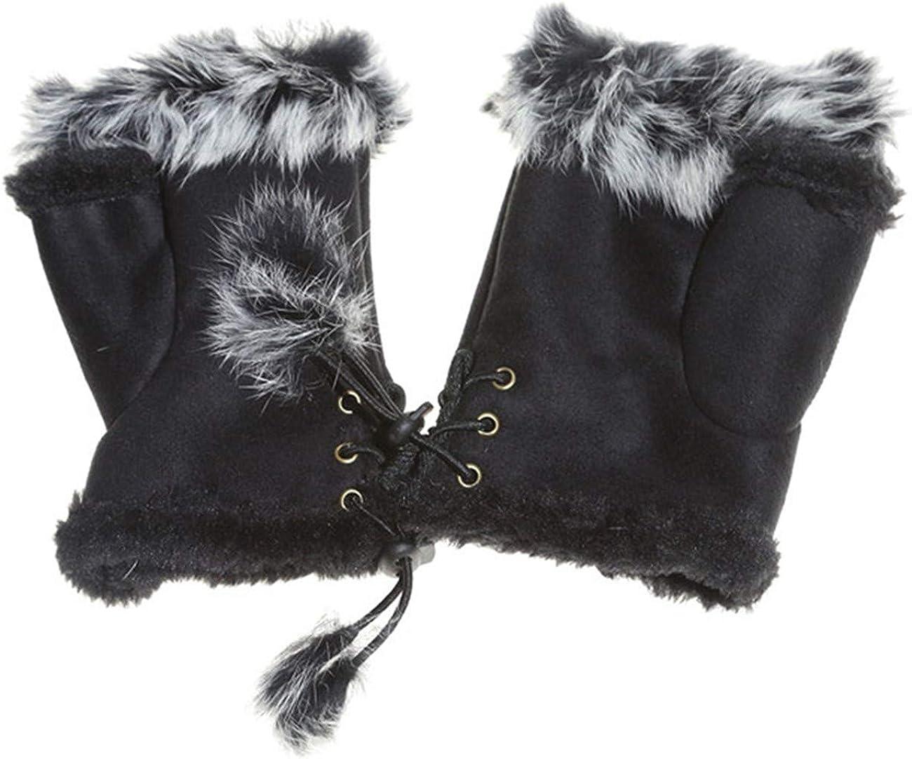ZALING Beautiful Winter Suede Gloves Faux Rabbit Hair Fingerless Mittens For Women Practical Half Finger Female Mitten