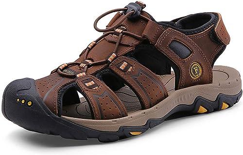 TYX-SS Baotou Sandales Chaussures de Plage en Cuir pour Hommes en Plein air Chaussures pour Hommes Chaussures Wading