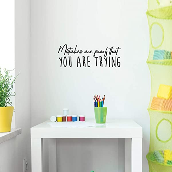 Vinyl Wall Art Decal Mistakes Are Proof You Are Trying 9 X 25 Motivational Inspirational Quote For Home Bedroom Apartment Office School Classroom Decoration Sticker