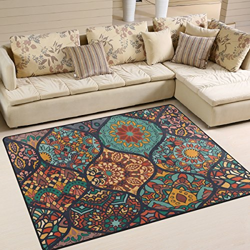 Yibaihe Colorful Moroccan Style Pattern Printed Large Area Rugs 203 x 147 cm (6'8' x 4'10'),Lightweight Non Slip Water-Repellent Floor Carpet For Living Room Bedroom Home Deck Patio