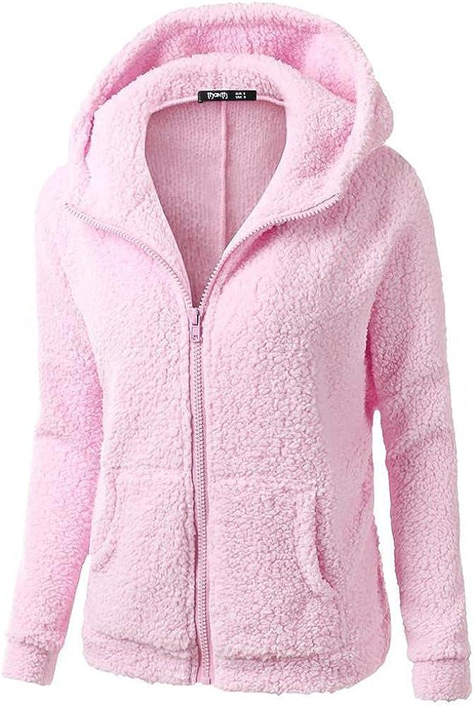 fuzzy Zipper jacket Coat for women Hooded Trench Outwear Winter Warm Windbreaker Wool Cotton Faux Fur Lined Overcoat