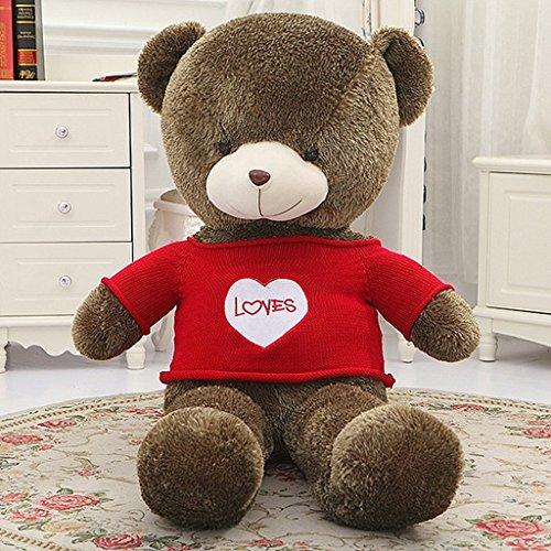 VERCART Grand Nounours Ours en Peluche XXL Teddy Bear Jouet Oursons Douce Cadeaux pour Bébé Enfant Ado Fille Garçon Marron Foncé 60cm