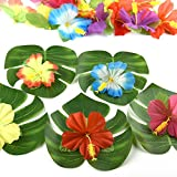 "Kuuqa 60 Stück Tropical Party Dekoration liefert 8 ""Tropical Palm Monstera Blätter und Hibiskusblüten, Simulation Blatt für hawaiische Luau Party Jungle Beach Thema Tischdekoration - 4"