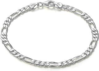 """BORUO Sterling Silver 4mm Diamond-Cut Figaro Chain Charm Bracelet for Women Men 6.5"""", 7"""",7.5"""", 8"""", 8.5"""", 9"""""""