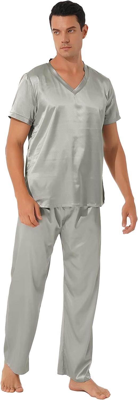 YiZYiF Men's Sides Split Stain Silk Pajamas Set V Neck Short Sleeve Sleepwear Loungewear
