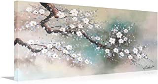 HLJ ART Hand Painted Plum Tree Blossom Elegant Flowers Abstract Canvas Artwork Hang for Home Decor Stretched and Framed (MA18, 40x20in)