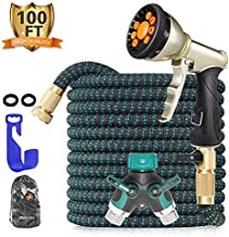 BLAVOR Expandable Garden Hose 100ft,Strongest Expanding 3750D,Flexible and Durable 4-Layers Latex Water Hose with 10-Way Heavy Duty Zinc Water Spray Nozzle, 2-Way Splitter,Solid Brass Fittings