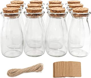 CUCUMI 12pcs 4 x 2 Inches Small Glass Favor Jars, Milk Glass Bottles with Cork Lids, Baby Shower Party Favors Wedding Favors with 25pcs Label Tags and 20m Burlap Ribbon