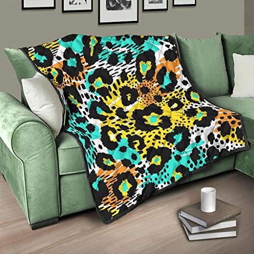Flowerhome Manta de piel de leopardo, para sofá o cama, 180 x 200 cm, para adultos y niños, color blanco