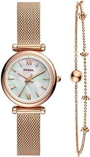 Women's Mini Carlie Stainless Steel Dress Quartz Watch and Bracelet Gift Box