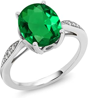 Gem Stone King 2.24 Ct Oval Green Simulated Emerald White Diamond 14K White Gold Ring