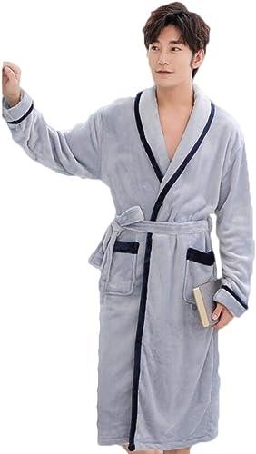 ZJEXJJ Robe de Flanelle pour Hommes Hiver Peignoir épaisse en Molleton de Corail Pyjama Long Service à Domicile (Couleur   F, Taille   M)