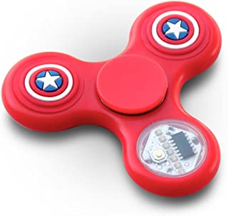 LED Fidget Spinner Toy - LED Light changes 18 Shapes –RED with Red, White, and Blue glow in the dark stars - Perfect For ADD, ADHD, Anxiety, and Autism