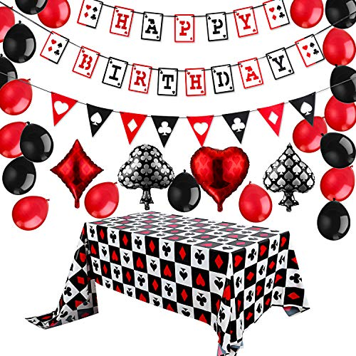 Casino Birthday Party Decorations Kit Happy Birthday Banner Casino Balloons Casino Triangle Bunting and Casino Table Covers Poker Party Supplies for Las Vegas Theme Casino Party, Set of 27