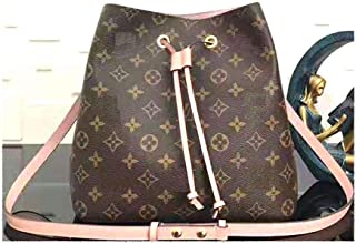 MARIA SCHROEDER Production Iconic CROSSBOBY BAG Medium Size 10.2 inches Brown Beautiful Color Canvas with Pink Leather Trim Casual Travel Organizer Purse With One Crossbody Shoulder Strap and Woman