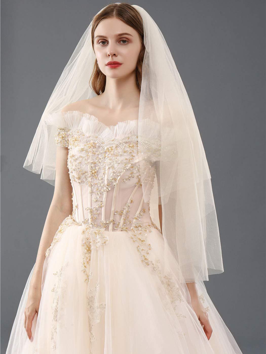 Salliy Denver Mall Bridal Wedding Veils New Orleans Mall Short 2 Tulle Vei Blusher Tier White