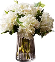 Greentime Pack of 3 Artificial White Hydrangea Flowers Fake Silk Bouquet Flower for Home Wedding Decor