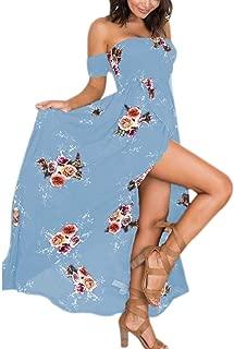Wintialy Large Size Women Boho Off Shoulder Floral Dress Ladies Long Maxi Dress