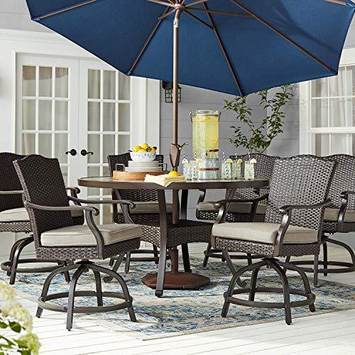 Member's Mark SAFQ08213-7C Agio Heritage 7-Piece Balcony Height Patio Dining Set w/Sunbrella Fabric