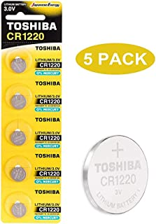 Toshiba CR1220 3V Lithium Coin Cell Battery Pack of 5 batteries Expiry date 2024