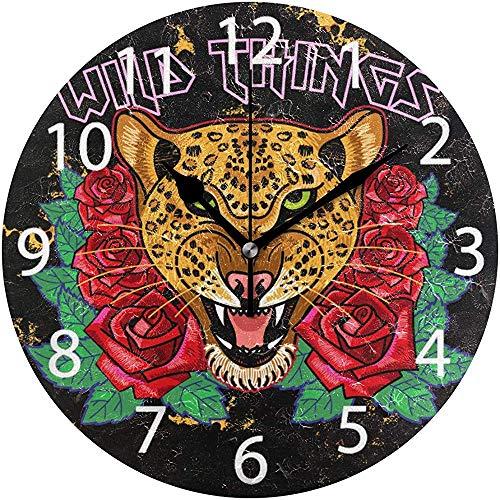 L.Fenn Reloj De Pared Redondo con Diseño De Rosas De Leopardo Salvajes Bordadas, Pintura Al Óleo Silenciosa Y Sin Tictac Decorativa para El Arte del Reloj Escolar De La Oficina En El Hogar