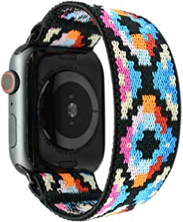 Tefeca Geometry Pattern Elastic Compatible/Replacement Band for Apple Watch 38mm 40mm 42mm 44mm (Black Adapter for 38mm/40mm Apple Watch, Wrist Size : 6.5-6.9 inch (L3))