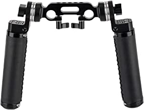 NICEYRIG ARRI Rosette Leather Handles with Rod Clamp Connector, Applicable 15mm Shoulder Pad Rig Support System