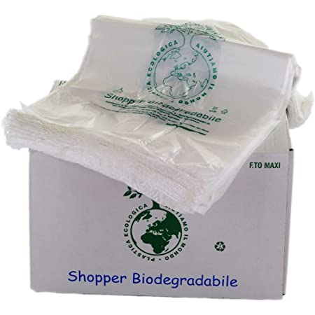 1000 PZ BUSTE BIODEGRADABILI MANICO COMPOSTABILI MINI 23X40 SHOPPER