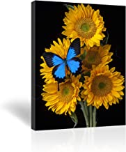 Purple Verbena Art - (10''x14'' Framed 5 Yellow Sunflowers with 1 Blue Butterflies Prints on Canvas Painting, Modern Giclee Canvas Prints Artwork Abstract Landscape 1 Panel Painting for Home Decor