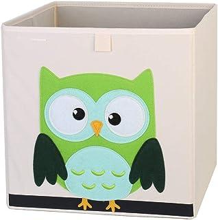 ZXXFR Panier À Linge Sale,Cute Cartoon Owl Broderie Broderie Animaux Tissu Oxford Cubes Boîte De Rangement Pliable Organis...