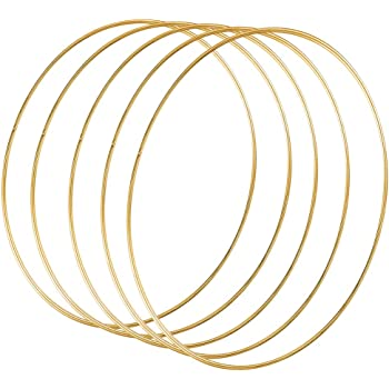 Yeenee 5 Pack 10 inch// 25 cm Metal Floral Hoop Wreath Macrame Gold Hoop Rings for Dream Catcher Wedding Wreath Decor and Macrame Wall Hanging Craft